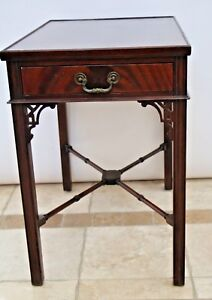 Antique Victorian Mahogany Butlers Parlor Side Table With Drawer