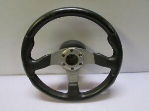 Jdm Momo Race Steering Wheel Made In Italy Genuine Used Silver Black 6 Bolt