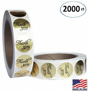 1 Inch Round Gold Foil Thank You Sticker Labels In Script calligraphy Print 2