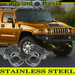 2003 2009 Hummer H2 H2 Sut Front Tow Hooks Solid Stainless Steel 2 Piece Set