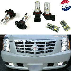 6pcs White Led Fog Driving Drl Light Bulbs Combo For 2007 2014 Cadillac Escalade