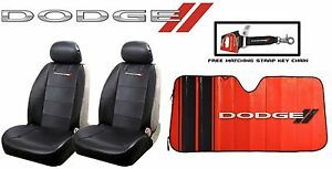 5 Pc Dodge Elite Black Syn Leather Seat Covers Sun Shade Wind Shield Combo