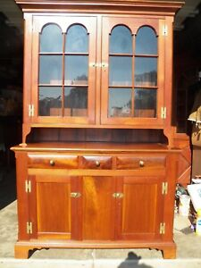 Antique Walnut 2 Piece Step Back Cupboard Kitchen Cabinet Southern Pennsylvania