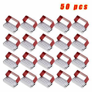 50x Dental Burs Holder Block Aluminium Disinfection Box Autoclave 20 Hole Red Us