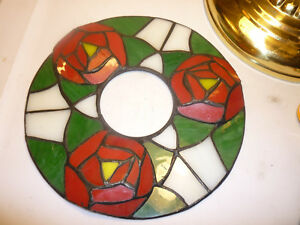 Vintage Stained Glass Green White And Red Wreath For Crafts