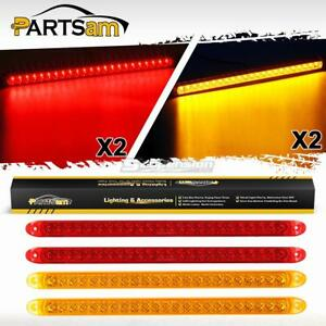 4xred amber 17 23led Stop Tail Turn Brake Clearance Marker Id Light Bar Utility