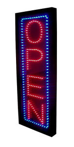 Ultra Bright Vertical Red Led Open Sign Blue Border 10 x26
