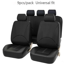 9pcs Universal Car Seat Cover Pu Leather Full Set Front Rear Head Rest Protector