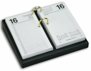 Dacasso Black Leather Desktop Calendar Holder With Gold Bolts 3 5 inch By