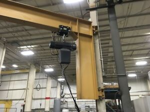 Gorbel Cantilever Jib Crane 2 Ton Cap With 1 2 Hp Electric Hoist 16 Radius