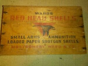 Wards Red Head Shells small arms ammunition loaded paper  shells wooden box