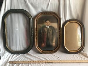 Lot Of 3 Antique Convex Octagon Picture Frames 2 12 X 20 1 10 X 16 Approx
