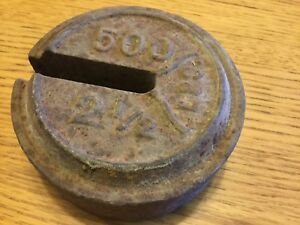 Antique Vintage Slotted Cast Iron Farm Platform Scale Weight 500 2 1 2 Lb