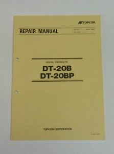 Topcon Dt 20p Dt 20dp Digital Theodolite Factory Repair Manual
