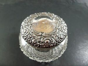4 Unger Brothers Sterling Silver And Cut Glass Dresser Powder Vanity Jar