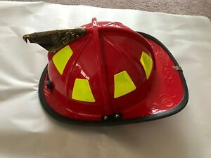 Msa Cairns New 1010 Red Fire Helmet With Defender Shield Carved Brass Eagle