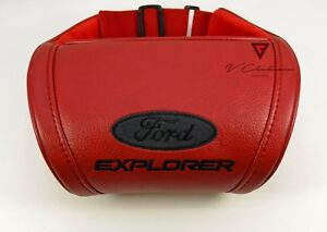 Car Headrest Pillow Leather Red Neck Rest Cushion Embroidery Logo Ford Explored