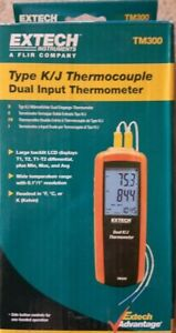 Extech Instruments Type K j Thermocouple Dual Input Thermometer tm300 new