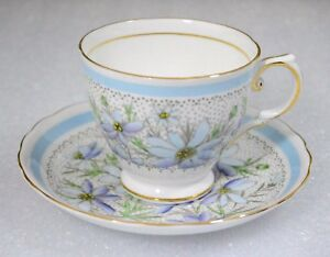 Tuscan England Cosmos Flowers Light Blue Bands Cup Saucer Set