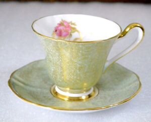 A Pink Rose Gold Decorated Green Background Tuscan England Cup Saucer Set