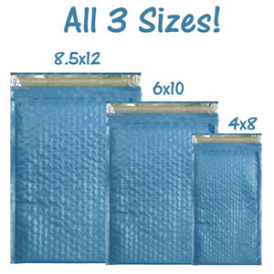 110 Assorted Sizes 8 5x12 6x9 And 4x8 Metallic Blue Poly Bubble Mailers