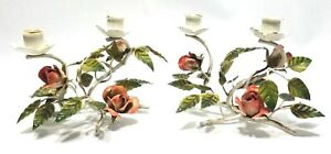 Antique Vintage Chic Italian Metal Tole Flowers Multi Candle Holders Pair