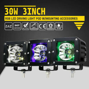 Pair 3 Inch Cree Led Work Light Pods Offroad Driving Rgb Lights Bar W Wiring Kit