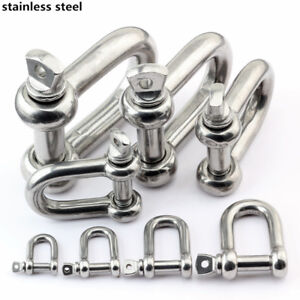10x Stainless Screw Pin Shackle Anchor D Ring Chain Cable Haul Lift Rope Clevis