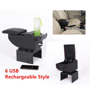 Universal 6 Usb Rechargeable Car Charger Central Container Armrest Storage Case