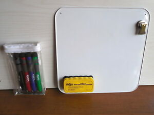 12 Sq Double Side White Metal Dry Erase Board W magnetic Clip Eraser