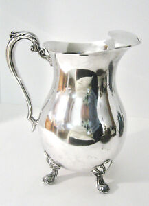 Water Pitcher With Ice Lip Silverplate Hollowware F B Rogers 2507