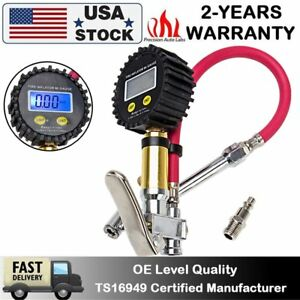 Accurate Air Tire Inflator Lcd Digital Pressure Gauge Dual Clip Chuck 150psi