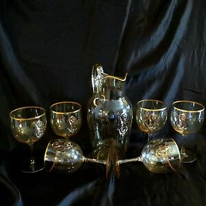 Antique French Glass Set 6 Goblets Pitcher Enamel Gold Decoration Beauty