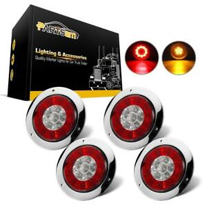 4pcs 4 Inch Round Red Amber Led Turn Stop Brake Trailer Tail Lights For R