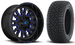 20x10 Fuel D645 Stroke Blue 35 At Wheel Tire Package 8x180 Chevy Silverado