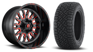 20 20x9 D612 Stroke Red Wheels 35 Fuel At Tire Package 8x6 5 Chevy Gmc 8lug