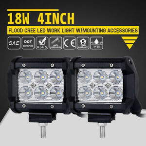 2 Pcs 5 Inch 240w Led Flush Mount Work Light Spot Flood Offroad Driving Lights