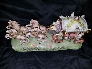 Vintage Capodimonte 4 Horse Drawn Carriage Coach Lady And Driver Coachman Mint