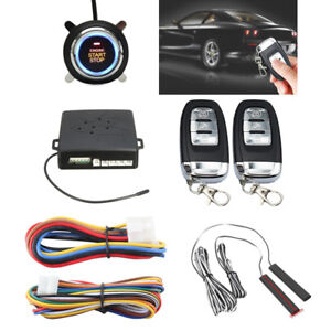 Pke Car Alarm System Passive Keyless Entry Push Button Remote Black Start stop