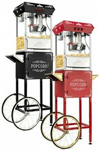 Olde Midway Vintage Style Popcorn Machine Maker Popper With Cart And 8 ounce