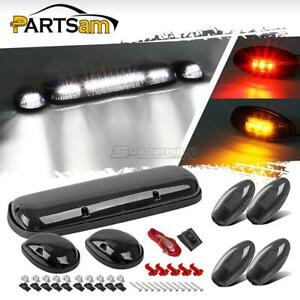 Smoke Lens White Cab Roof Led Lights Red Amber Side Marker For 02 06 Chevy Gmc