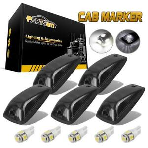 5x For 88 02 Chevy Gmc Smoked Lens Cab Marker Light 264159bk White W5w Led Base