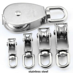 Stainless Steel 304 Rope Single Sheave Rope Pulley Pully Wheel Swivel Pulley 10x