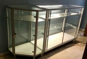 Glass Countertop Display Case Store Fixture Showcase With Lights