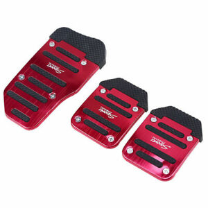 3pcs Red Universal Metal Sports Car Truck Manual Non Slip Foot Pedals Cover Trim