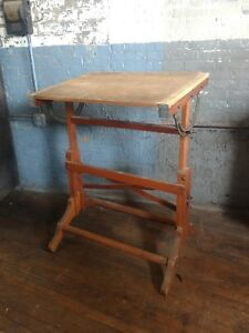 Frederick Post Drafting Table Primitive Industrial Art Study Office Oak 1930s