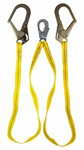 Guardian Fall Protection 01271 6 foot Double Leg Non shock Absorbing Lanyard Wit
