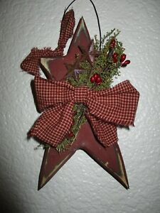 Primitive Burgundy Wood Star Hanging Sign Homespun Fabric Sweet Annie Pip Berry