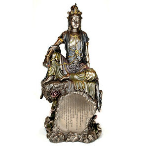 Kwan Yin Heart Sutra Statue 15 5 Large Goddess High Quality Water Moon Bronze