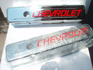 Sbc Tall Chevrolet Script Chrome Valve Covers 350 383 Rat Hot Rod Race Car Chevy